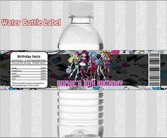 MONSTER HIGH Etiqueta para Agua por iPartyPrintables en Etsy