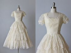1950s Wedding Dress / 1950s Lace Wedding Gown / Eyelet Dress /