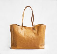 Leather Shopper in Butterscotch /Leather Tote / by morelle on Etsy