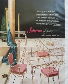 Salterini, Outdoor Kitchen Patio, Vintage Patio, Iron Furniture, Wrought Iron, Ads, Traditional, Design