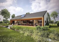 Dom oszczędny - wariant I (z wentylacją mechaniczną) Modern Barn House, Small Modern House Plans, House Roof, My House, Casas Containers, Small Cottages, Modern Farmhouse Exterior, Cottage Style Homes, House Layouts