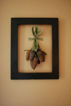 Craftaholics Anonymous® |  Framed Pine Cones.  (I picked up pine cones from the cemetery where my mother was buried. Didn't know what to do with them until now! - Beth)