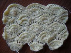 Preciosa puntada de abanicos en crochet