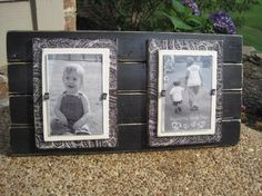 Wood Plank Frame  I'm pretty sure that I can make this.   Attach a couple of wood floor planks, then add 2 wood tiles and modge podge scrapbooking paper. Add another small solid tile and modge podge a picture to that. Wah lah!