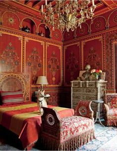 Beautiful Moroccan bedroom, red patterned walls, chandelier, rich fabrics Pierre Berge's bedroom designed by Bill Willis at Villa Oasis, Morocco. Moroccan Bedroom, Bedroom Red, Moroccan Interiors, Bedroom Decor, Gypsy Bedroom, Bedroom 2017, Bedroom Ideas, Bedroom Interiors, Bedroom Furniture