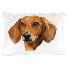 Beautiful Red Dachshund Digital Art pi Pillow Case