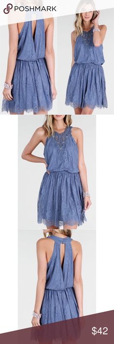 Denim Blue Lace Dress Denim Blue Lace Dress  What a perfect dress to wear this Spring and Summer.  Has beaded neck appliqué.  And is 100% nylon. Dresses Mini