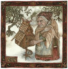 """Baba Yaga is the Russian Goddess of birth and death that has devolved into a child-eating boogie-witch whose name was used to threaten children into obedience. """"Be good or Baba Yaga will eat you! Baba Yaga, Folklore, Eslava, Photo D Art, Art Et Illustration, Russian Folk, Fairytale Art, Mythology, Illustrators"""