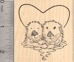Valentines Day Sea Otter Rubber Stamp Otters in Heart -- Click image for more details.