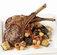 Lamb Chops and Eggplant with Indian Spices