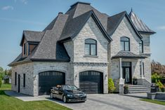 Most Popular Ideas Grey Stone House Exterior Stone Exterior Houses, Dream House Exterior, Stone Houses, Dream Home Design, My Dream Home, Style At Home, Grey Stone House, Luxury Homes Dream Houses, Modern Mansion