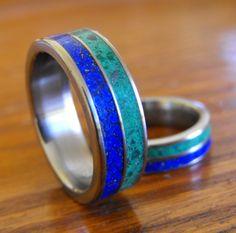 Titanium Wedding Band Set Double Stone Inlay by RobandLean on Etsy, $275.00