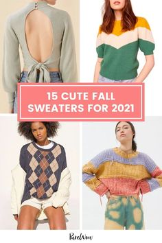From comfy crewnecks, classic cableknits or bold and bright knits in funky patterns, here are 15 cute fall sweaters you're going to want to wear as you skip through this season's fallen crunchy leaves. #fall #sweaters #fashion Fall Fashion Staples, Autumn Fashion, Cable Knit Sweaters, Pullover Sweaters, Cute Sweaters For Fall, Black Overalls, Yellow Chevron, Night Outfits, Street Style Looks