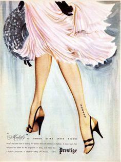 hollyhocksandtulips:    Hosiery advertisement, 1954