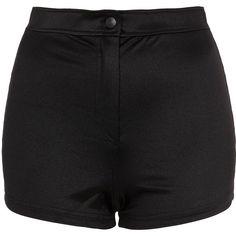 TOPSHOP Shiny High Waist Shorts ($15) ❤ liked on Polyvore featuring shorts, bottoms, short, pants, black, black highwaisted shorts, black shorts, black high waisted shorts, topshop and high-waisted shorts