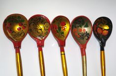 Set of 5 Russian Wooden Spoons Black Golden Khokhloma painting Handmade Spoon Rest Soviet Russian national ornament vintage Russian Folk Art by VintagePolkaShop on Etsy