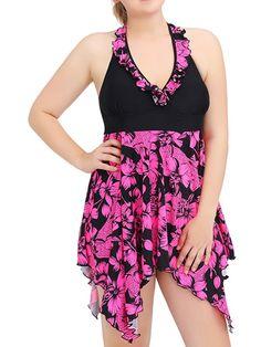 60bcce39cad Starvnc - Women Plus Size Backless Floral Print Swimsuit - Walmart.com