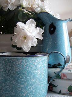 Vintage tin enamel pitcher