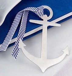 Nautical & Beach Wedding Planning, Theme Ideas, Decor & Supplies >> Personalized Nautical Theme Brushed Metal Bookmark