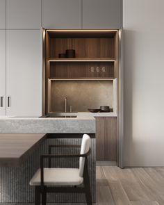 Kitchen & dining area #modernkitchen #kitchendesign #kitcheninterior #diningareadesign #diningareinterior #minimalism #architecture #minimalisticarchitecture #minimalisticinterior #ideasforkitchen Double Vanity, Modern, Bookcase, Shelves, Kitchen, Design, Home Decor, Interiors, Tips