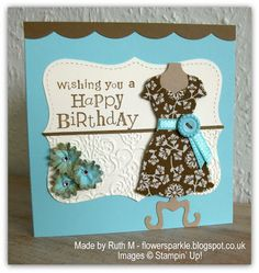 Flower Sparkle: Spice Cake Fabric Dress Happy Birthday Card