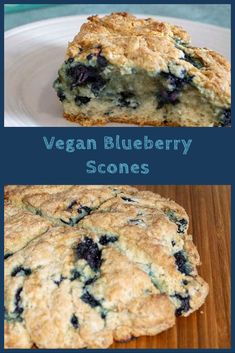These vegan blueberry scones have a crispy exterior, texture that is the perfect combination of fluff and crumble, and just the right hint of sweetness. Vegan Scones, Vegan Biscuits, Vegan Muffins, Vegan Dessert Recipes, Vegan Snacks, Baking Recipes, Blueberry Scones, Vegan Blueberry, Baking For Beginners