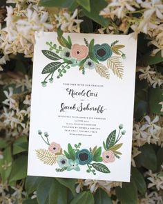 """<36 of 109 > Soft and Dreamy  A vintage-inspired floral motif and whimsical calligraphy animated the invites by Rifle Paper Co. """"I wanted them to be as romantic as Italy,"""" says Nicole, who wed in Tuscany. See More from this Real Wedding"""
