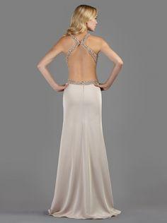 Βραδινό μακρύ φόρεμα με ανοιχτή πλάτη κεντημένη με πολύτιμες πέτρες - Βραδυνά Φορέματα