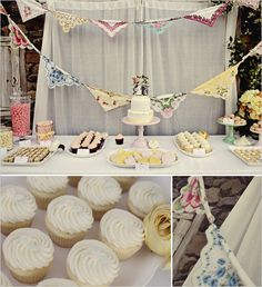 Dessert table, love the hankies tied together as bunting too.