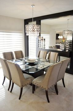 Small Dining Room Ideas Interior Decorating Ideas For Small Dining Rooms Small Dining Room Ideas. Are you looking for decorating tips for your small dining room? Dining Room Curtains, Dining Room Table Decor, Elegant Dining Room, Luxury Dining Room, Dining Table Design, Dining Chairs, Room Decor, Dining Rooms, Dinner Room