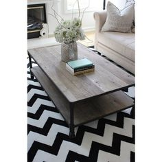 rustic & contemporary: coffee table and rug Living Room Inspiration, Home Decor Inspiration, Decor Ideas, Decorating Ideas, Color Inspiration, Chevron Rugs, Paint Chevron, Chevron Floor, Chevron Patterns