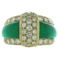 Van Cleef & Arpels Green Chrysoprase Diamond Yellow Gold Ring | From a unique collection of vintage band rings at https://www.1stdibs.com/jewelry/rings/band-rings/