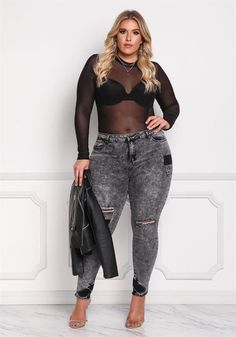 Plus Size Clothing | Plus Size Acid Wash Patched & Distressed Jeans | Debshops