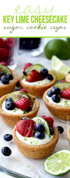 Easy Key Lime Pie Cheesecake Cookie Cups | Impressive and delicious EASY NO BAKE key lime cheesecake filling cocooned in soft sugar cookie cups made from pre-made cookie dough – doesn't get much simpler or delicious!  Perfect for any occasion, like Easter or baby/bridal showers!  @carlsbadcraving