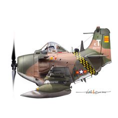 Side view profile cartoon of an A-1H Skyraider of the 518th Fighter Sq Flying Dragon at Bien-Hoa AFB - VNAF in the late 60s.