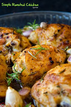 Simple Roasted Chicken is a life saver when you feel lazy and don't want to work much but still want to have good food for dinner. Food Recipe Share and enjoy! Chicken Pieces Recipes, Chicken Ideas, Crispy Roasted Chicken, Roasted Chicken Thighs, Turkey Recipes, Dinner Recipes, Food Dishes, Main Dishes, Frango Chicken