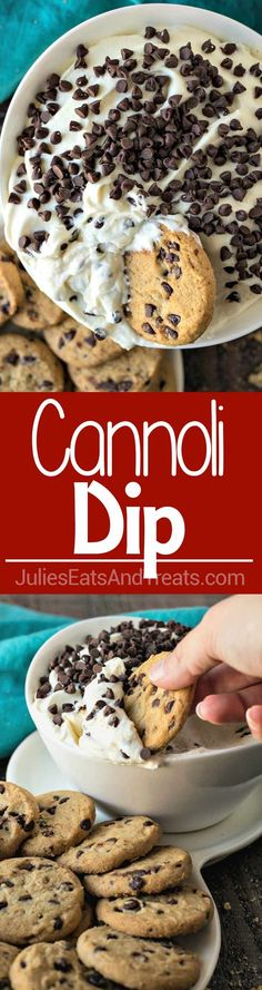 Best Cannoli Dip Recipe – A Creamy Dessert Dip Made from Whipped Cannoli Filling Using Real Marscapone Cheese and Served with Chocolate Chip Cookies!