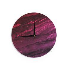 "Ebi Emporium ""Agate Magic - Red Pink Plum"" Deep Purple Wall Clock"
