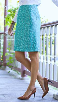aqua lace pencil skirt