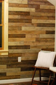 A tutorial for this wall. She used tongue and groove boards and 4 different stains.