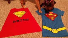 Shirt with cape from 80stees.com... iron on glitter sheet from joanns used for letters