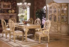 White Wash Dining Table Groups - Formal Wood Dining Room Set in Antique White Wash Finish 6170