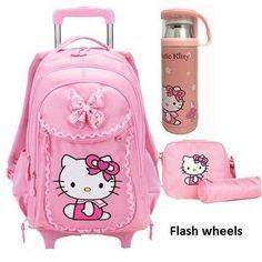 Hello Kitty Children School Bags Mochilas Kids Backpacks With Wheel Trolley  Luggage For Girls backpack Mochila Infantil Bolsas 8b4a634a556a2