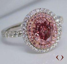 GIA 1.67CT SI1 Natural Fancy Pink Diamond Ring in Platinum