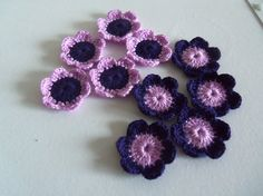 Set of 24 Purple Crochet Flowers by Roxana010 on Etsy