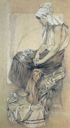 ❤ - Alphonse Mucha | Study for Figures Decoratives - 1905.
