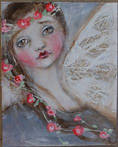 original girl child angel shabby floral portrait real by fadedwest, $45.00