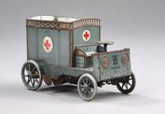 Lehmann ambulance, toy car in the shape of No.727 Germany from 1915 to 1919.  http://www.lauritz.com/sv/auktion/lehmann-ambulance-i-form-af-no-727-karitas/i3400168/#