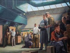 Anna Airy circle - Portrait of Cabinet Makers - British figurative interior - Visit Richard Taylor Fine Art for more 17th-20th century art. Richard Taylor, Group Of Companies, Oil Painters, London Art, Cabinet Makers, Victoria And Albert Museum, Artist Names, Figurative, Art Gallery