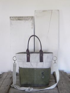 Tote bag made from reclaimed ticking fabric, WWII era US military canvas, two upcycled belts, A Well Worn Story
